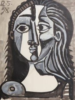 Tete De Femme, 28-10 Limited Edition Print by  Picasso Estate Signed Editions
