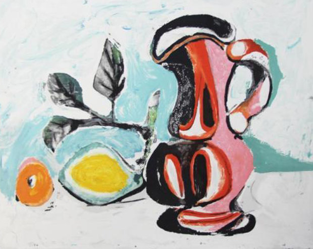 Nature Morte Au Citron Et Un Pichet Rouge