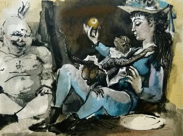 Nude Man, Girl And Monkey  Limited Edition Print -  Picasso Estate Signed Editions
