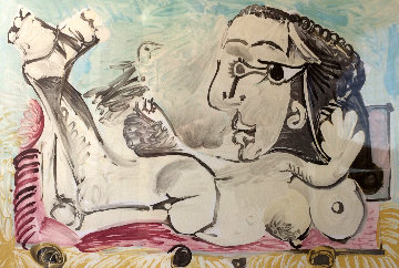 Femme Couchee a l\'oiseau  Limited Edition Print -  Picasso Estate Signed Editions