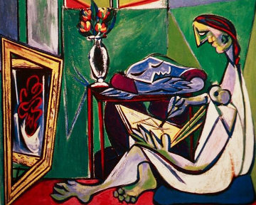 Woman Drawing Before a Mirror Limited Edition Print -  Picasso Estate Signed Editions