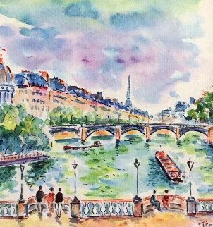 LA Institut Vu Du Pont Neuf Paris Watercolor 2007 19x19 Watercolor - Jean Claude Picot