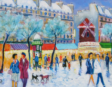 Moulin Rouge Sous Le Neige 2002 20x24 Original Painting - Jean Claude Picot