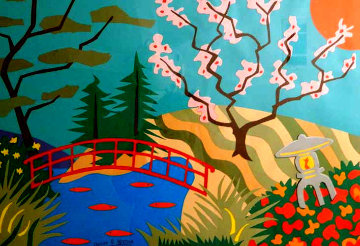 Cherry Blossom Bridge 26x36 Original Painting - Pierre Matisse