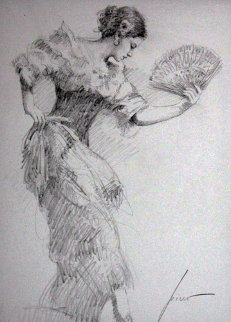 Flamenco Dancer Drawing 2010 30x26 Drawing -  Pino