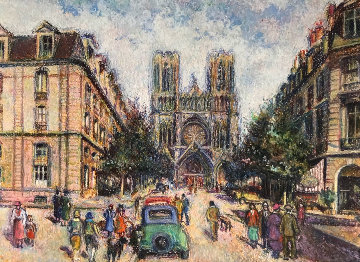 La Rue Libergier a Reims 1982 Pastel 15x20 Works on Paper (not prints) - H. Claude Pissarro