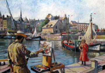 La Lieutenance a Honfleur 2002 33x28 Works on Paper (not prints) - H. Claude Pissarro
