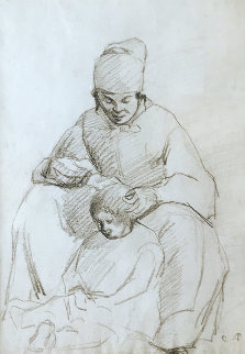 La Coiffeuse (The Hairdresser) Original Drawing  1855 17x12 Drawing - Camille Pissarro