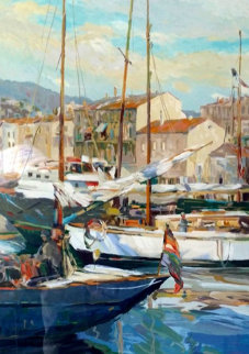 Boat Masts 1987 Limited Edition Print - Henri Plisson