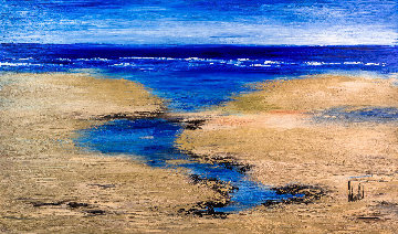 Entre Ciel Et Mer (Between Sky And Sea) 2018 36x58 Original Painting - Jaline Pol
