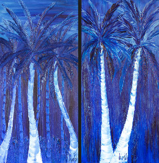 Night Under the Tropics - Set of 2 Paintings 72x38 Original Painting - Jaline Pol