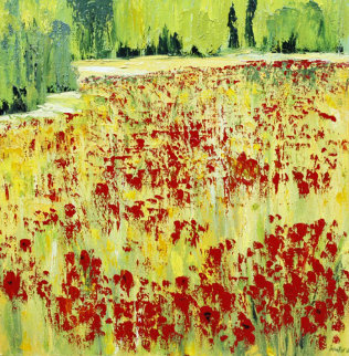 Eruption Florales 1997 38x38 Original Painting - Jaline Pol