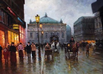 Opera in Paris 2007 24x34 Original Painting - Alexander Popoff