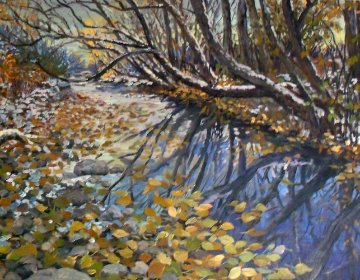Creek in the Woods 2008 16x20 Original Painting - John Powell