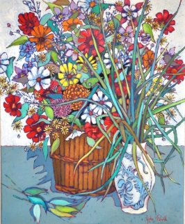 Still Life Flowers 1970 36x30 Original Painting - John Powell