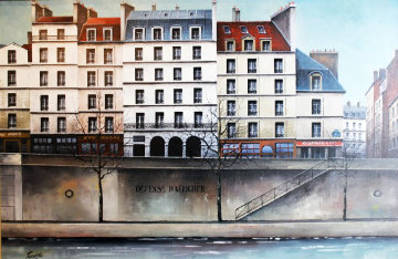La Seine River, Paris 1988 32x28 Original Painting - Thomas Pradzynski