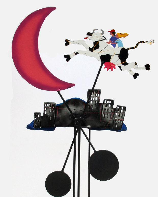 Cow Jumping Over the Moon Metal Kinetic Sculpture 72 in 1990