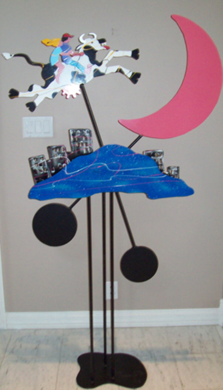 Cow Jumped Over the Moon Kinetic Sculpture 1990 71x33