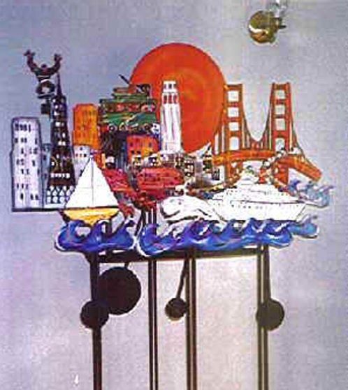 San Francisco Kinetic Steel Sculpture with Neon  AP 1989 63x55