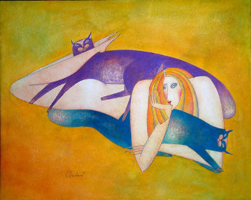 Purple And Blue Cat 22x25 Works on Paper (not prints) - Andrei Protsouk