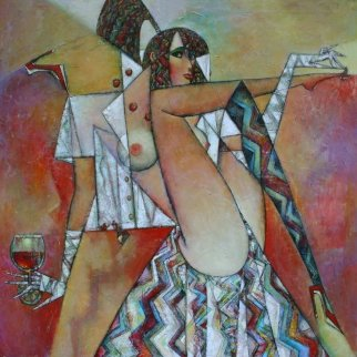 Beauty Treatment 2014 47x47 Original Painting - Andrei Protsouk