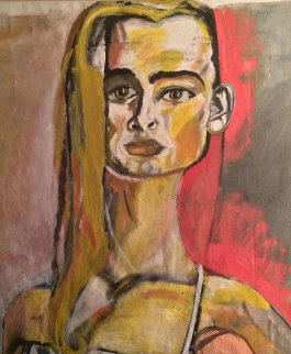 Untitled (Portrait of a Lady) 1987 60x60 Original Painting - William Quigley