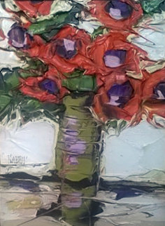 Bright Orange Poppies 1972 13x11 Original Painting - Jim Rabby