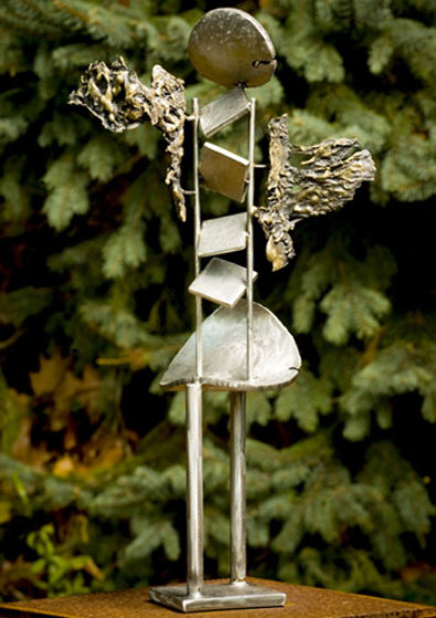 Nicka Bronze and Stainless Steel Sculpture 2008 35 in