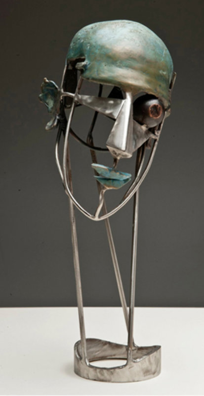 Man's Portrait Bronze and Stainless Steel Sculpture Ap  2012 18 in