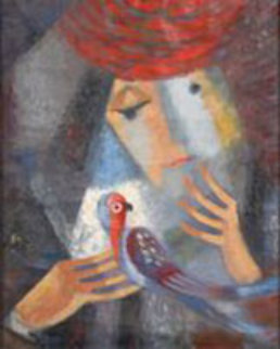 Untitled Lady with Bird 1950 22x18 Original Painting - Viktor Rafael