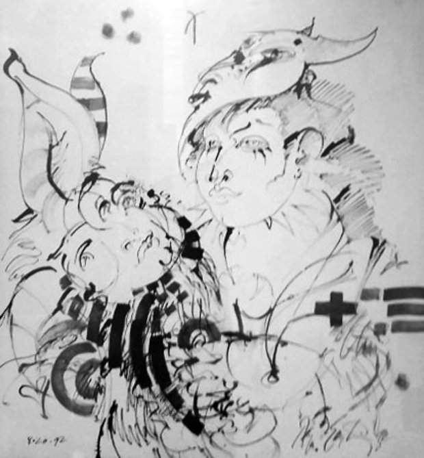 Magician With Rabbit Drawing 1992