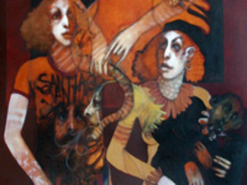 Mother Image 66x46 Original Painting - Ramon Santiago