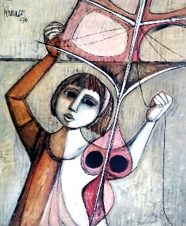 Kite Flyer 1970 32x28 Original Painting - Lucio Ranucci