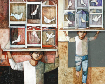 Cages 1982 48x58 Original Painting - Lucio Ranucci