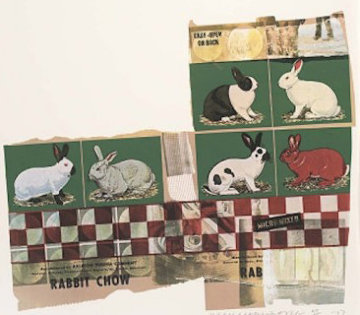 Rabbit Chow, From Chow Bags 1977 48x36 Limited Edition Print - Robert Rauschenberg