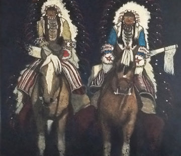 Untitled Indians on Horseback 49x44 Original Painting - Kevin Redstar