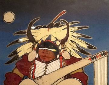 Untitled Indian 1980 30x37 Original Painting - Kevin Redstar
