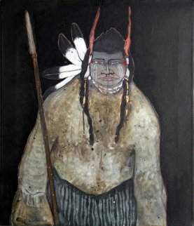Untitled (Portrait With Spear) 28x24 Original Painting - Kevin Redstar