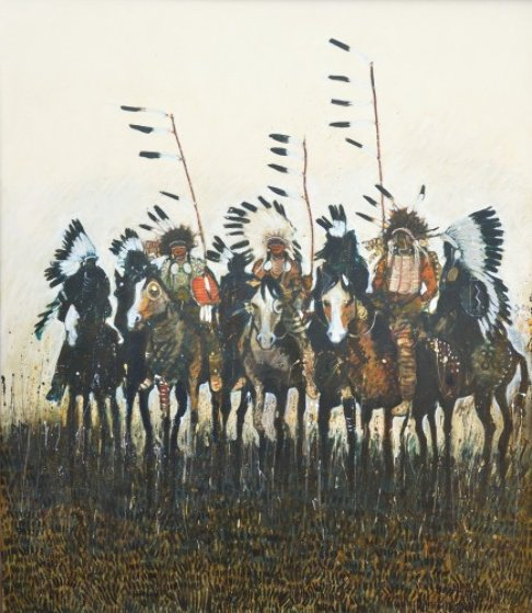 Three Warriors With Coup Sticks 1991 48x42
