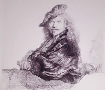 Self Portrait With Beret Etching   Limited Edition Print -  Rembrandt