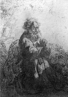 St. Jerome Kneeling in Prayer, Looking Down Limited Edition Print -  Rembrandt