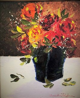 Still Life With Flowers 35x31 Original Painting - Alexandre Renoir