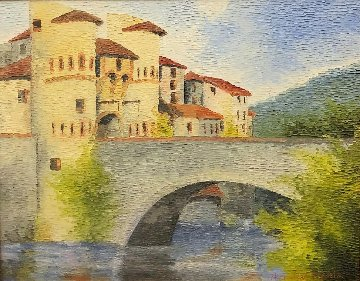Castle With Bridge 33x39 Original Painting - Alexandre Renoir