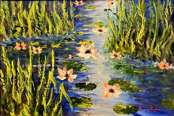 Waterlilies At Giverny 2013 46x66 Original Painting - Alexandre Renoir