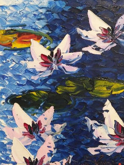 Five Lillies 2017 23x19 Original Painting - Alexandre Renoir