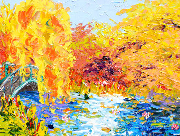Peaceful Pond Series 2011 28x33 Original Painting - Alexandre Renoir