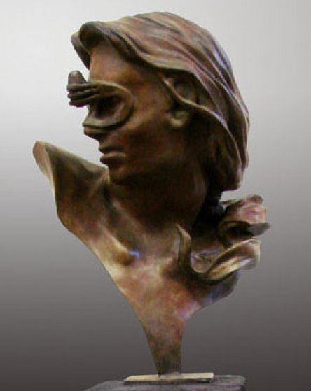 A Little Thought Kept in Perspective Bronze Sculpture 2009 25 in