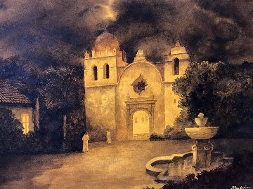 Carmel Mission Watercolor 2007 30x40 Watercolor - Ruben Resendiz