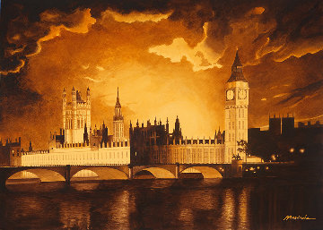 Big Ben Watercolor 30x40 London Watercolor - Ruben Resendiz