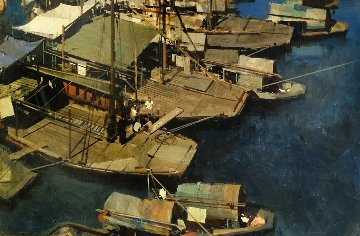 Boats 1969 35x47 Original Painting - James Reynolds